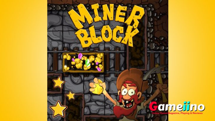 "Miner Block To beat the challenging puzzle game ""Miner Block"" you have to move the wagon full of gold out of a mine filled with obstacles - image - Gameiino.com"